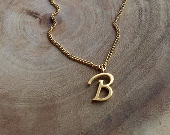 Initial necklace, monogram necklace, letter B, name necklace, letter necklace,  bridesmaids  jewelry, gift for her, boho jewelry