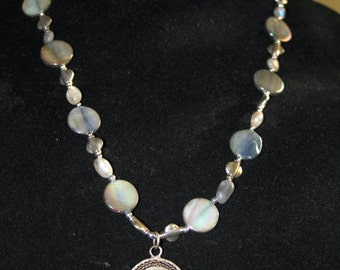 Vintage Sterling Japanese Woven Wire Pendant with Gray Coin Pearls, Labradorite Nuggets and Sterling Bali Bead Necklace