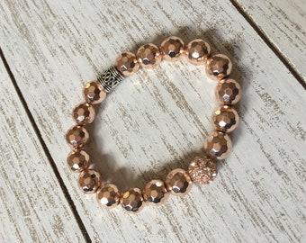 Rose Gold Hematite Beaded Bracelet