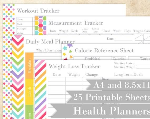 health and weight loss printable planners rainbow editable