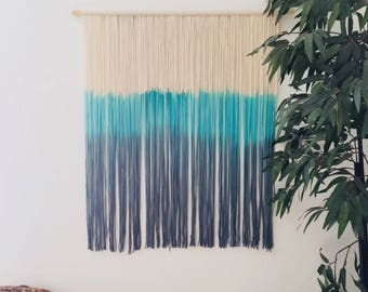 Teal Vibe   Dip Dye, Handmade Wall Hanging