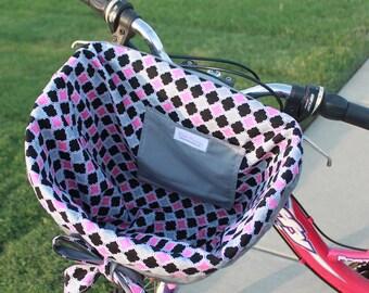 Gray Pink and Black Lattice Quatrefoil Bike Basket liner  For Quick Release Basket