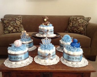 It's a boy baby Shower Centerpieces bundt diaper cakes different colors and sizes available too