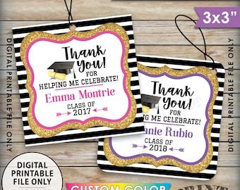 "Graduation Tags, Graduation Party Favors Thank You Tags, Gold Glitter Grad Tags, Graduation Party Favors, 8.5x11"" Sheet, 3x3"" Printable Tags"