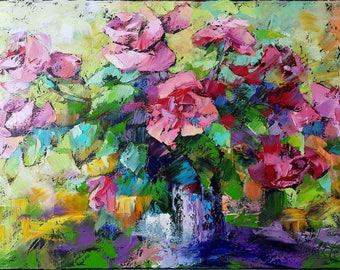 Painting Roses, oil painting, painting flowers, painting floral,  Palette knife Modern Art painting flowers blue vase, Original Oil Painting