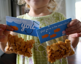 goldfish KIDS VALENTINES - diy PRINTABLE