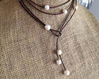 Pearl and Leather Double Wrap Lariat Necklace, Brown, Black, Tan