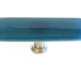 Long Knob in Steel Blue Transparent Art Glass. Unique knobs for dressers, kitchen cabinets, bathrooms, and more by Uneek Glass Fusions.