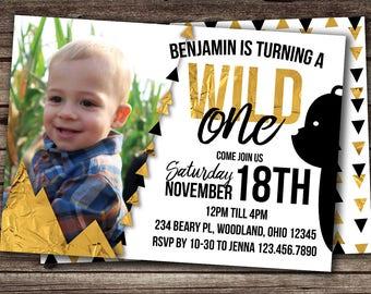 Wild One birthday boy, first birthday boy, First Birthday, Birthday Boy, Printable Invitations, 1st birthday invitations, wild one birthday
