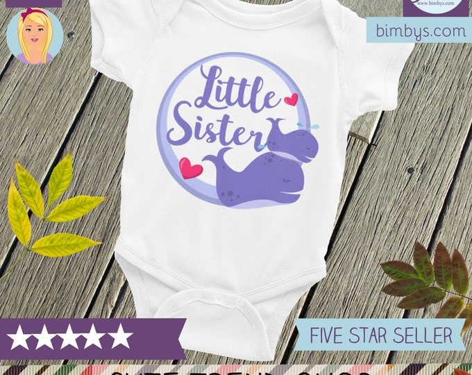 Whale little sister onesie®, Little sister, Whale print, Gift for sister, Little sister shirt,  Whale sister shirt, Whale theme, Cute onesie