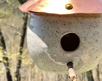 Handmade Pottery Birdhouse- copper roof, White Glaze,birds