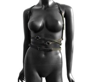BDSM Fashion Harness ARTEMIS Black Leather and Gunmetal