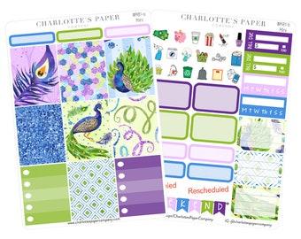 Planner Sticker Mini Kit / Planner Stickers / Erin Condren Planner Stickers / Peacock Sticker Kit / Mini Sticker Kit / WK81 Mini