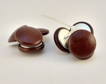 Chestnut brown leather cover button. Set of 4
