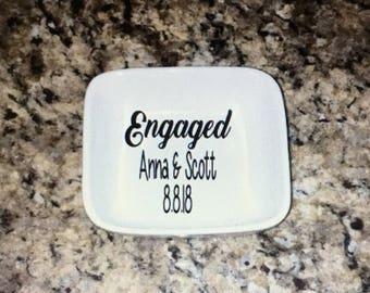 Engagement ring dish. Engaged ring dish. Ring dish engagement. Ring dish engaged. Engagement gift. Custom ring dish. Ring dish.