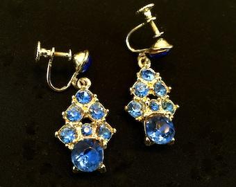 Blue Rhinestone Dangle Earrings                 VG1047