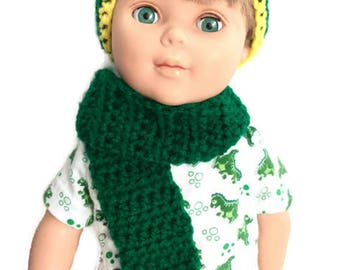 18 Inch Boy Doll Hat and Scarf, Crocheted Green and Yellow Beanie with Matching Scarf, Boy Doll Clothes