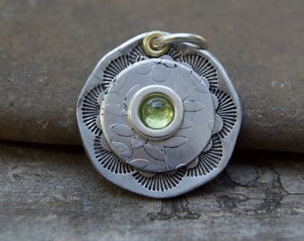 South Western Aluminum Peridot Pendant . Artisan Supply . Handmade . Hand Stamped . Supplies . Relics