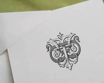 Personalized Notecards Custom Initials Stationery Wedding Gift Victorian Antique Monogram Ivory Formal Monogrammed Note Cards set of 10