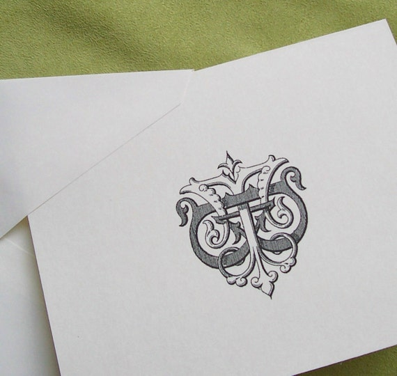 Personalized Notecards Custom Initials Stationery Wedding Gift