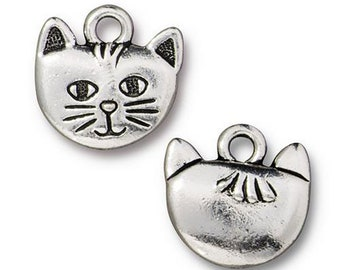 Whiskers the Cat Charm Antique Silver Animal Charm TierraCast Lead Free Pewter 17mm x 12mm 1 pc