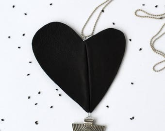 Bold heart necklace/ Long necklace.
