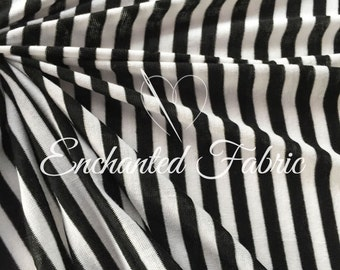 """Black and Off White 1/4"""" Striped Rayon Jersey Knit Fabric for Baby Wrap,Baby Backdrop Fabric for Newborn Photography and Apparel - 209"""