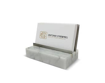 Marble and Stainless Steel Business Card Holder - White Carrara Marble - Recycled Marble, Metal Series