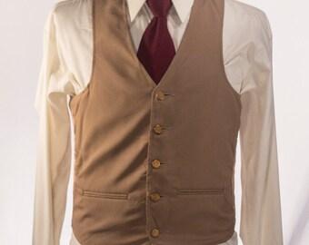 Men's Suit Vest / Vintage Khaki Waistcoat / Size 37 / Small-Medium
