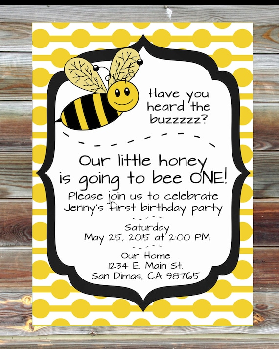 Bee Theme First Birthday Invitation 1st Birthday Boy Girl