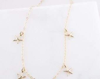 Starfish Choker OR Gold Tiny Seashell Choker Necklace, Gift for Her, Dainty Gold Choker, Tiny Seashell OR Starfish Gold Choker, Gold Choker