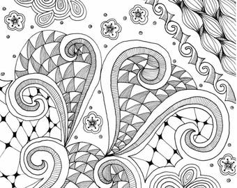 Coloring Page Printable - Abstract Random Instant Digital Download