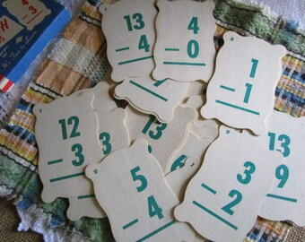 Subtraction Flash Cards    A Built Rite Toy   Made in USA   Re-purpose   Ephemera