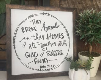 They broke bread sign, thanksgiving sign, rustic sign, fixer upper, rustic farmhouse, fall decor, scripture sign, family prayer, fall sign
