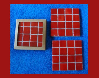 Handmade Tile Coasters Bright White with Silver Grout on Acrylic Bases