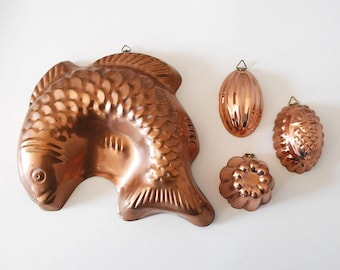 Copper Kitchen Molds, Fish Jello Mold, Farmhouse Decor, Rustic Kitchen, Cooking Baking Supplies, Small Metal Molds, Pineapple, Tin Lining