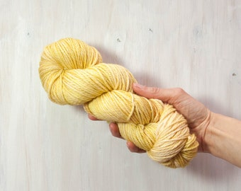Hand dyed yarn, worsted yarn, yellow yarn, straw yarn, semi solid yarn, merino yarn, superwash yarn, dyed yarn, aran yarn, duckling yarn