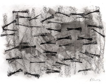 Abstract Art Print - mixed media, black