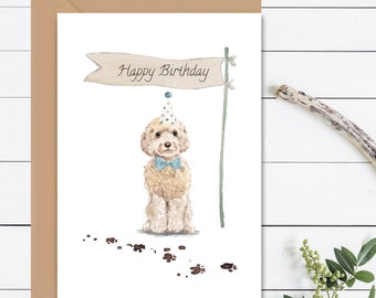 HAPPY BIRTHDAY Card, Cockapoo Birthday Card, Cockapoo Card, Dog Card, Gift For Dog Lovers, Pet Owners Gift, Cockapoo Dog Card With Envelope