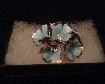 Sale Striking Mid Century Enamel Blue Flower Brooch/ Wedding Jewelry/ Bridal Jewelry