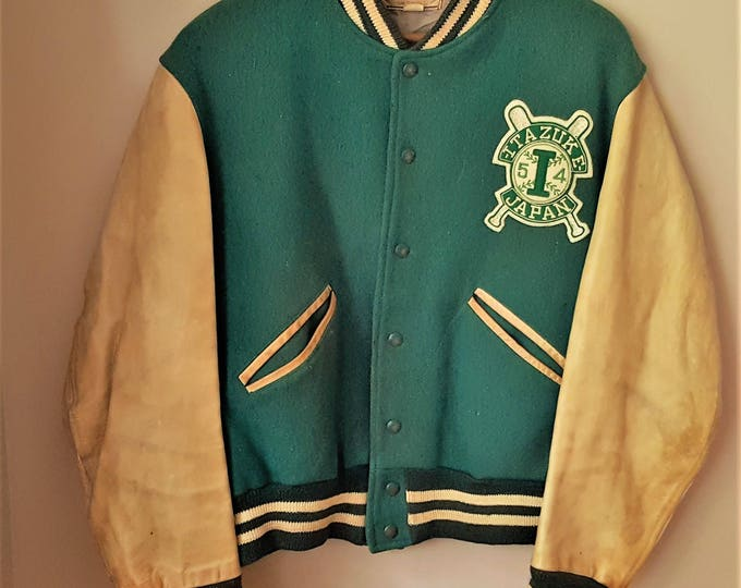 Featured listing image: Military Korean War Jacket Wool and Leather from Itazuke Air Force Base 1954 Baseball Team on Base Jacket  Military Memorbilia