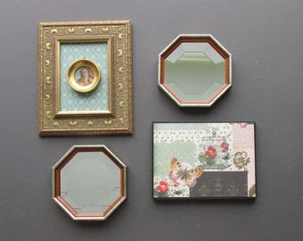 Wall art collage - Bohemian In Gold- a 4 piece arrangement - beveled vintage mirrors -bohemian