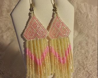 Beadweaved Dangle Earrings in Pink and Cream