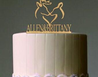 Deer Wedding Cake Topper - Country Wedding Cake Topper - rustic wedding cake topper - personalized  custom wedding cake topper - cake decor