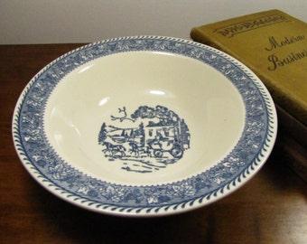 Vintage Blue and White Transferware Bowl