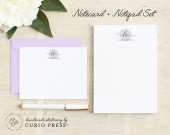 Personalized Stationery Set / Notecard and Notepad Stationary Set / Simple Script Cards // DELICATE MONOGRAM 2-SET / Flat + Pad