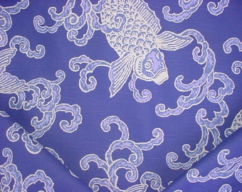 1-1/8 yards Kravet Lee Jofa Banku.5 - Baltic Blue Koi Fish Scroll Printed Cotton Drapery Upholstery Fabric - Below Wholesale - Free Shipping
