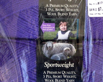 Lion Brand Wool-East Sportweight Yarn - color Purple- 3 skins - New in Package
