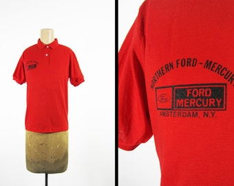 Vintage Ford Mercury T-shirt Women's Car Dealer Polo Shirt Amsterdam NY - Small