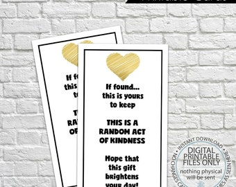 Printable Random Act of Kindness Cards, RAOK, Pay It Forward, DIY Printable, Calling Cards, Black & White, Gold Foil, Random Act Tags